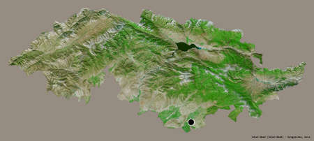 Shape of Jalal-Abad, province of Kyrgyzstan, with its capital isolated on a solid color background. Satellite imagery. 3D rendering