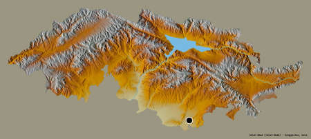 Shape of Jalal-Abad, province of Kyrgyzstan, with its capital isolated on a solid color background. Topographic relief map. 3D rendering