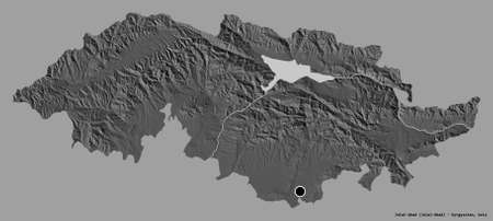 Shape of Jalal-Abad, province of Kyrgyzstan, with its capital isolated on a solid color background. Bilevel elevation map. 3D rendering