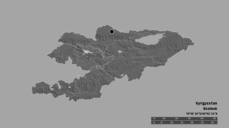 Desaturated shape of Kyrgyzstan with its capital, main regional division and the separated Jalal-Abad area. Labels. Bilevel elevation map. 3D rendering