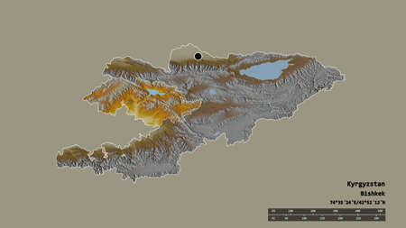 Desaturated shape of Kyrgyzstan with its capital, main regional division and the separated Jalal-Abad area. Labels. Topographic relief map. 3D rendering