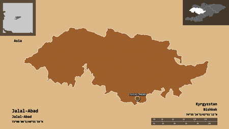 Shape of Jalal-Abad, province of Kyrgyzstan, and its capital. Distance scale, previews and labels. Composition of patterned textures. 3D rendering