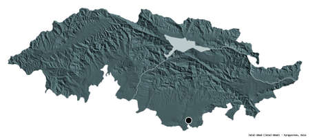 Shape of Jalal-Abad, province of Kyrgyzstan, with its capital isolated on white background. Colored elevation map. 3D rendering