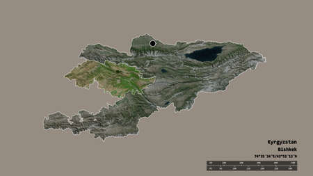 Desaturated shape of Kyrgyzstan with its capital, main regional division and the separated Jalal-Abad area. Labels. Satellite imagery. 3D rendering