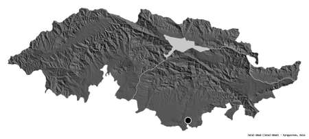 Shape of Jalal-Abad, province of Kyrgyzstan, with its capital isolated on white background. Bilevel elevation map. 3D rendering