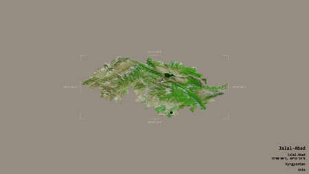 Area of Jalal-Abad, province of Kyrgyzstan, isolated on a solid background in a georeferenced bounding box. Labels. Satellite imagery. 3D rendering