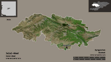 Shape of Jalal-Abad, province of Kyrgyzstan, and its capital. Distance scale, previews and labels. Satellite imagery. 3D rendering