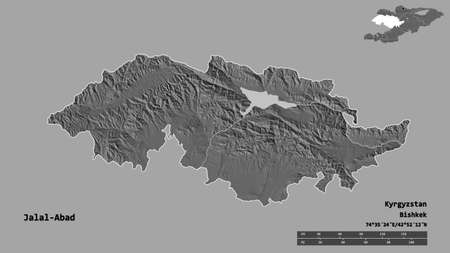 Shape of Jalal-Abad, province of Kyrgyzstan, with its capital isolated on solid background. Distance scale, region preview and labels. Bilevel elevation map. 3D rendering