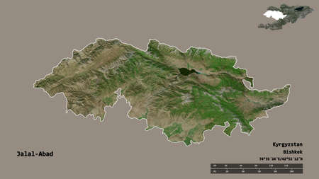 Shape of Jalal-Abad, province of Kyrgyzstan, with its capital isolated on solid background. Distance scale, region preview and labels. Satellite imagery. 3D rendering Фото со стока