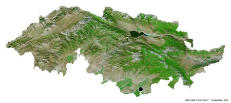 Shape of Jalal-Abad, province of Kyrgyzstan, with its capital isolated on white background. Satellite imagery. 3D rendering