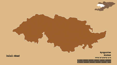 Shape of Jalal-Abad, province of Kyrgyzstan, with its capital isolated on solid background. Distance scale, region preview and labels. Composition of patterned textures. 3D rendering