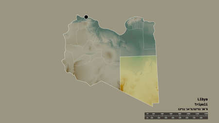 Desaturated shape of Libya with its capital, main regional division and the separated Al Kufrah area. Labels. Topographic relief map. 3D rendering 免版税图像
