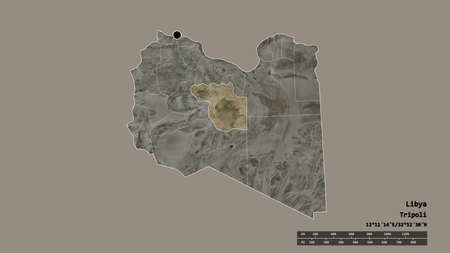 Desaturated shape of Libya with its capital, main regional division and the separated Al Jufrah area. Labels. Satellite imagery. 3D rendering