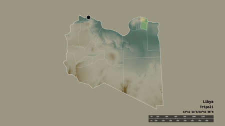 Desaturated shape of Libya with its capital, main regional division and the separated Darnah area. Labels. Topographic relief map. 3D rendering Archivio Fotografico