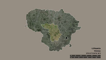 Desaturated shape of Lithuania with its capital, main regional division and the separated Kauno area. Labels. Satellite imagery. 3D rendering