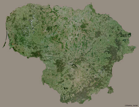 Shape of Lithuania with its capital isolated on a solid color background. Satellite imagery. 3D rendering