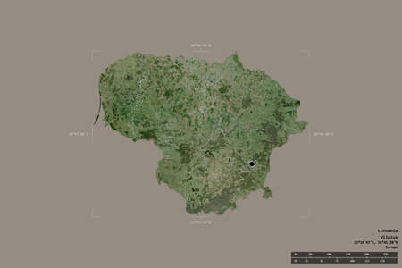 Area of Lithuania isolated on a solid background in a georeferenced bounding box. Main regional division, distance scale, labels. Satellite imagery. 3D rendering