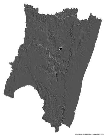 Shape of Fianarantsoa, autonomous province of Madagascar, with its capital isolated on white background. Bilevel elevation map. 3D rendering