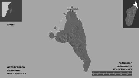 Shape of Antsiranana, autonomous province of Madagascar, and its capital. Distance scale, previews and labels. Bilevel elevation map. 3D rendering