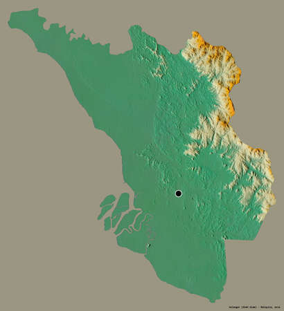 Shape of Selangor, state of Malaysia, with its capital isolated on a solid color background. Topographic relief map. 3D rendering
