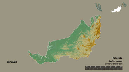 Shape of Sarawak, state of Malaysia, with its capital isolated on solid background. Distance scale, region preview and labels. Topographic relief map. 3D rendering Zdjęcie Seryjne