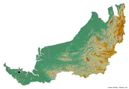 Shape of Sarawak, state of Malaysia, with its capital isolated on white background. Topographic relief map. 3D rendering