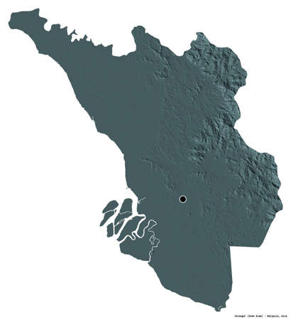 Shape of Selangor, state of Malaysia, with its capital isolated on white background. Colored elevation map. 3D rendering