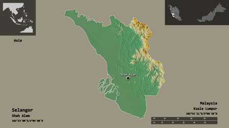 Shape of Selangor, state of Malaysia, and its capital. Distance scale, previews and labels. Topographic relief map. 3D rendering Stock Photo