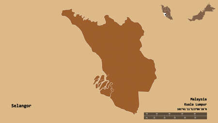 Shape of Selangor, state of Malaysia, with its capital isolated on solid background. Distance scale, region preview and labels. Composition of regularly patterned textures. 3D rendering