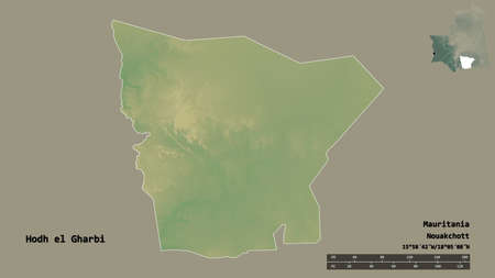 Shape of Hodh el Gharbi, region of Mauritania, with its capital isolated on solid background. Distance scale, region preview and labels. Topographic relief map. 3D rendering