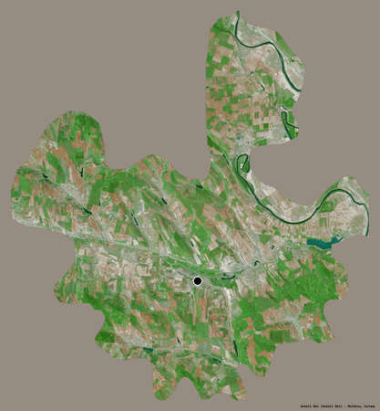Shape of Anenii Noi, district of Moldova, with its capital isolated on a solid color background. Satellite imagery. 3D rendering Reklamní fotografie