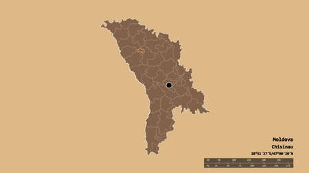 Desaturated shape of Moldova with its capital, main regional division and the separated Bălţi area. Labels. Composition of regularly patterned textures. 3D rendering