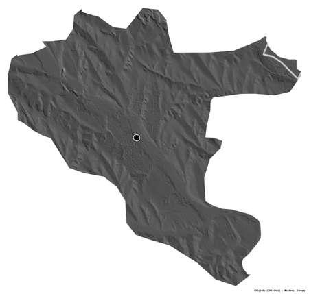 Shape of ChiÅŸinău, city of Moldova, with its capital isolated on white background. Bilevel elevation map. 3D rendering Reklamní fotografie