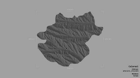 Area of Calarasi, district of Moldova, isolated on a solid background in a georeferenced bounding box. Labels. Bilevel elevation map. 3D rendering