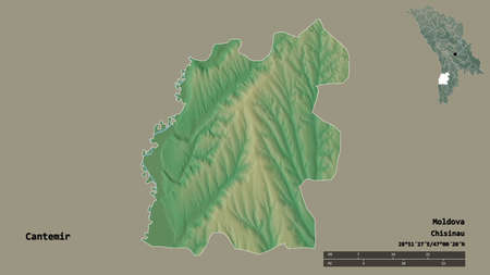 Shape of Cantemir, district of Moldova, with its capital isolated on solid background. Distance scale, region preview and labels. Topographic relief map. 3D rendering