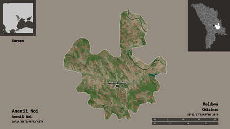 Shape of Anenii Noi, district of Moldova, and its capital. Distance scale, previews and labels. Satellite imagery. 3D rendering Reklamní fotografie