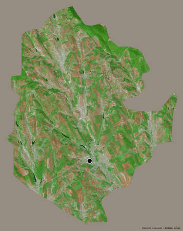 Shape of CimiÅŸlia, district of Moldova, with its capital isolated on a solid color background. Satellite imagery. 3D rendering