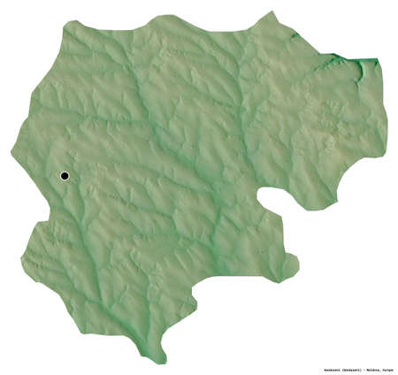 Shape of Donduseni, district of Moldova, with its capital isolated on white background. Topographic relief map. 3D rendering