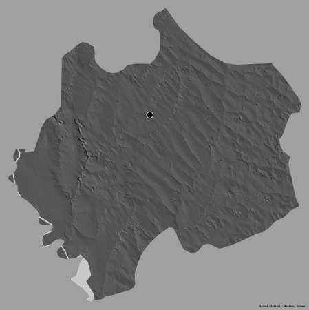 Shape of Edineţ, district of Moldova, with its capital isolated on a solid color background. Bilevel elevation map. 3D rendering