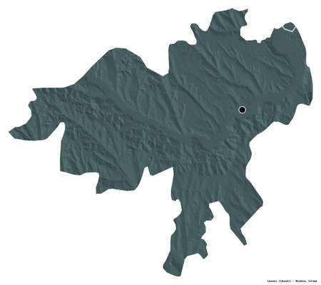 Shape of Causeni, district of Moldova, with its capital isolated on white background. Colored elevation map. 3D rendering