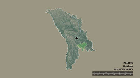 Desaturated shape of Moldova with its capital, main regional division and the separated Causeni area. Labels. Topographic relief map. 3D rendering