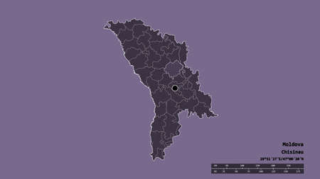 Desaturated shape of Moldova with its capital, main regional division and the separated Orhei area. Labels. Colored elevation map. 3D rendering