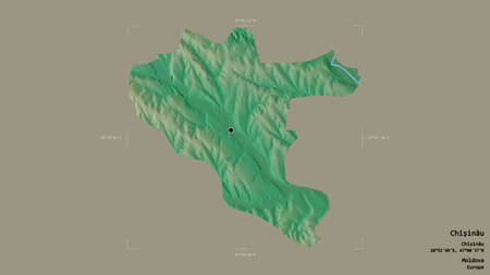 Area of Chişinău, city of Moldova, isolated on a solid background in a georeferenced bounding box. Labels. Topographic relief map. 3D rendering