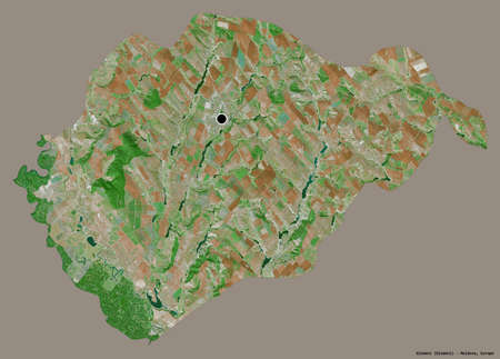 Shape of Glodeni, district of Moldova, with its capital isolated on a solid color background. Satellite imagery. 3D rendering