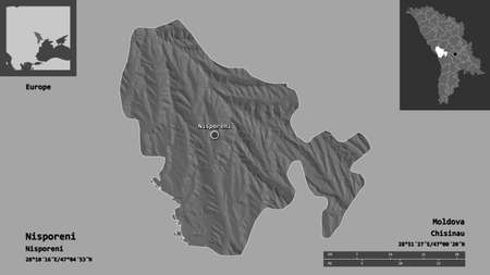 Shape of Nisporeni, district of Moldova, and its capital. Distance scale, previews and labels. Bilevel elevation map. 3D rendering