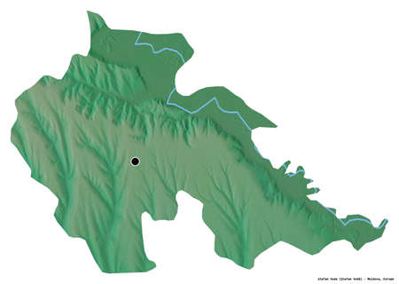 Shape of Åžtefan Voda, district of Moldova, with its capital isolated on white background. Topographic relief map. 3D rendering