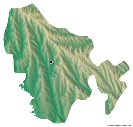 Shape of Nisporeni, district of Moldova, with its capital isolated on white background. Topographic relief map. 3D rendering