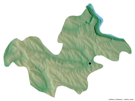 Shape of Şoldăneşti, district of Moldova, with its capital isolated on white background. Topographic relief map. 3D rendering