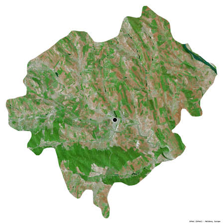 Shape of Orhei, district of Moldova, with its capital isolated on white background. Satellite imagery. 3D rendering