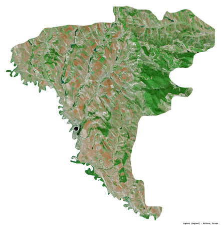 Shape of Ungheni, district of Moldova, with its capital isolated on white background. Satellite imagery. 3D rendering
